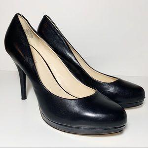 Nine West Black Leather Pumps High Heels